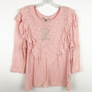 NWT Seven7 ruffle detail blouse